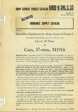 M1916 37mm gun parts catalog