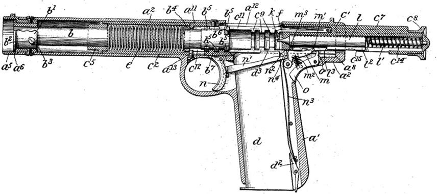 Browning 1897 rotating barrel pistol - full recoil