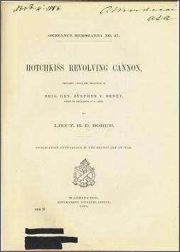 Ordnance Memoranda 27: Hotchkiss Revolving Cannon, 1886, English
