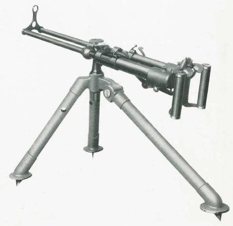 M1915 Villar Perosa on a simple tripod