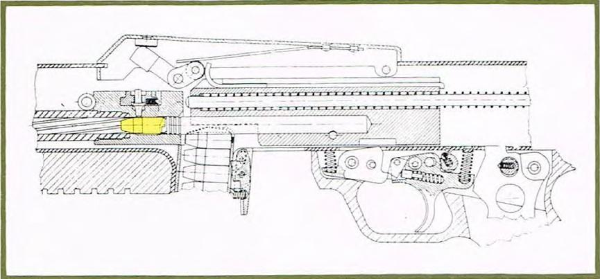 Benelli CB-M2 mechanism cutaway view