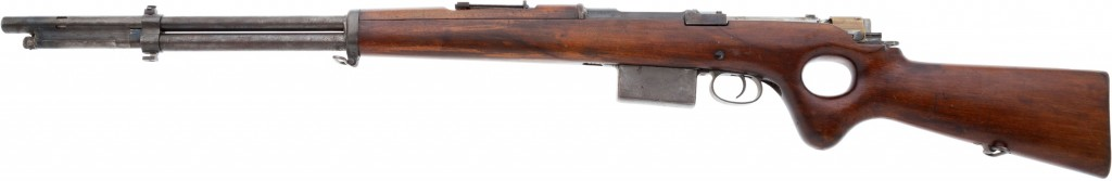Snabb conversion of an 1893 Mauser rifle (left)