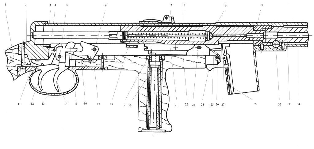 Sectional view of a wz.39 Mors SMG
