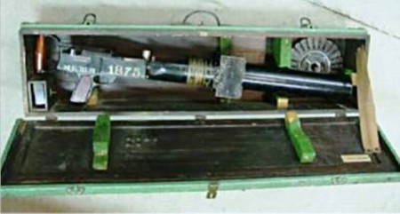 Hythe camera gun with accessories in its transit crate