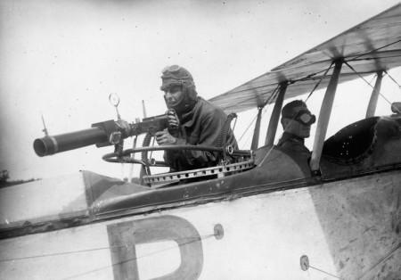 Hythe camera gun on a flexible ring mount of a JN-4 biplane