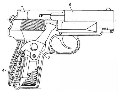 Diagram of the PB pistol showing its return spring arrangement, from  same1982-dated Soviet army manual