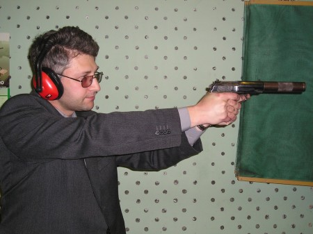 Author firing PB pistol