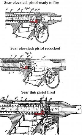 Maxim-Silverman 1896 pistol sear mechanism