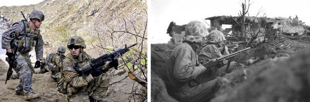 Soldiers in Afghanistan and Iwo Jima