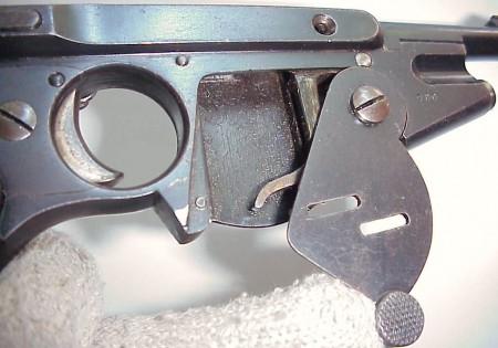 Bergmann No.2 with magazine cover plate open