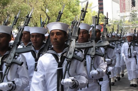Mexican Navy during parade with Galil AR rifles
