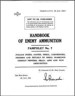 Handbook of Enemy Ammunition, Pamphlet No. 7 (English, 1943)