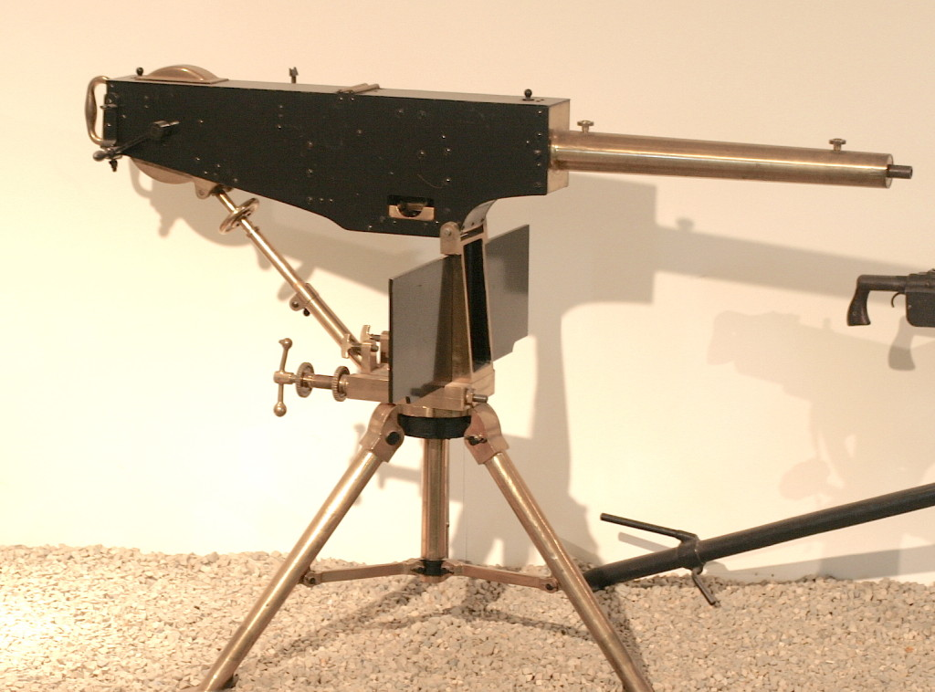 """Maxim """"Prototype"""" at the Royal Armouries in Leeds. Note the absence of the rate-of-fire control arm in this version..."""