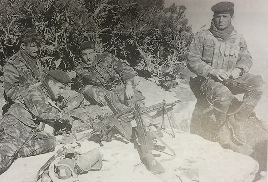 A group of French Commandos relaxing during their campaign in Algeria. Two are armed with MAT-49 SMGs and two with seized CETME-B rifles.